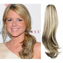Clip in příčesek culík/cop 100% lidské vlasy 60cm vlnitý - platina / světle hnědá