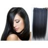 Clip in pás z pravých vlasů 43cm rovný – černá