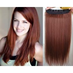 Clip in pás z pravých vlasů 43cm rovný – měděná