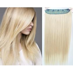 Clip in pás z pravých vlasů 53cm rovný – platina