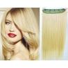 Clip in pás z pravých vlasů 63cm rovný – nejsvětlejší blond