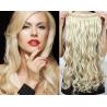 Clip in pás z pravých vlasů 43cm vlnitý – platina