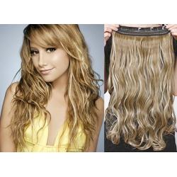 Clip in pás z pravých vlasů 43cm vlnitý – světlý melír