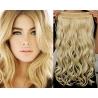 Clip in pás z pravých vlasů 53cm vlnitý – nejsvětlejší blond