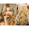 Clip in pás z pravých vlasů 63cm vlnitý – přírodní blond