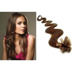 Vlnité vlasy evropského typu k prodlužování keratinem 50cm - světlejší hnědé