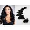 Vlnité vlasy evropského typu k prodlužování keratinem 60cm - černé