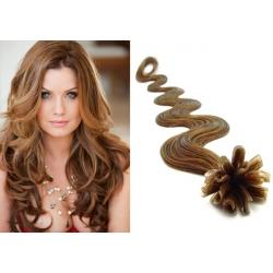 Vlnité vlasy evropského typu k prodlužování keratinem 60cm - světle hnědé