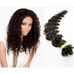 Kudrnaté vlasy evropského typu k prodlužování keratinem 50cm - přírodní černé