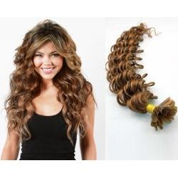 Kudrnaté vlasy evropského typu k prodlužování keratinem 50cm - světle hnědé