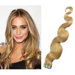 Vlnité vlasy pro metodu Pu Extension / Tape Hair / Tape IN 50cm - přírodní blond