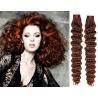 Kudrnaté vlasy pro metodu Pu Extension / Tape Hair / Tape IN 50cm - měděná