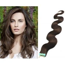 Vlnité vlasy pro metodu Pu Extension / Tape Hair / Tape IN 60cm - tmavě hnědé