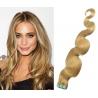 Vlnité vlasy pro metodu Pu Extension / Tape Hair / Tape IN 60cm - přírodní blond