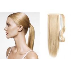 Clip in příčesek culík/cop 100% lidské vlasy 50cm - nejsvětlejší blond