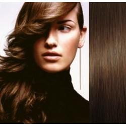 Clip in vlasy 53cm 100% lidské – REMY 100g – STŘEDNĚ HNĚDÁ