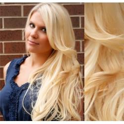 Clip in vlnité vlasy pravé lidské REMY 53cm - nejsvětlejší blond